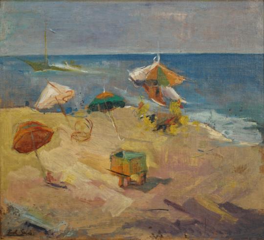 Raúl Soldi - Las sombrillas (Mar del Plata)
